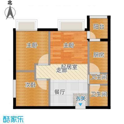 锦江国际新城67.00㎡公寓1/2栋10单位户型2室2厅1卫