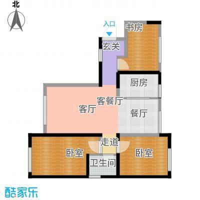 华茂中心98.00㎡高层风之尚B1户型3室2厅1卫