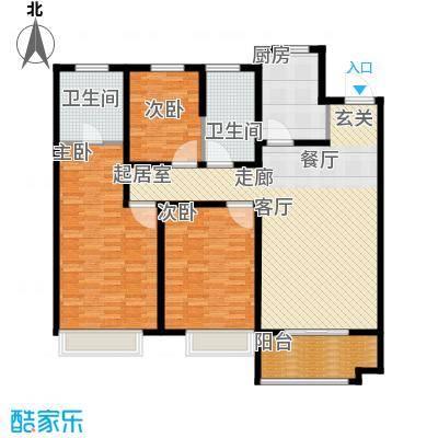万行中心A户型三室两厅两卫建筑面积约141㎡户型3室2厅2卫