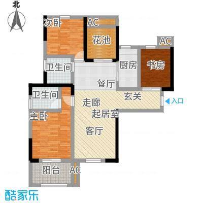 观澜御苑110.00㎡二期C户型两室两厅两卫户型2室-T