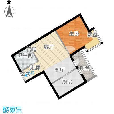 宏业广场60.00㎡一室二厅户型