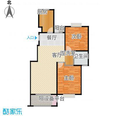 金光大道二期文昌花园88.00㎡金光大道Ⅱ期 A1户型 2室2厅1卫户型