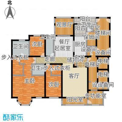河畔公馆290.00㎡A座 B户型 4室3厅4卫户型4室3厅4卫