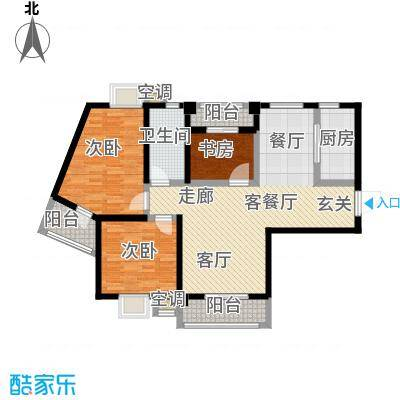 九坤翰林苑105.00㎡B1/B2户型3室2厅1卫