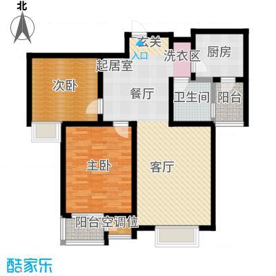 津品鉴筑92.00㎡两室两厅一卫户型