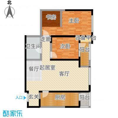 万科明天广场108.00㎡两室两厅一卫户型2室2厅1卫