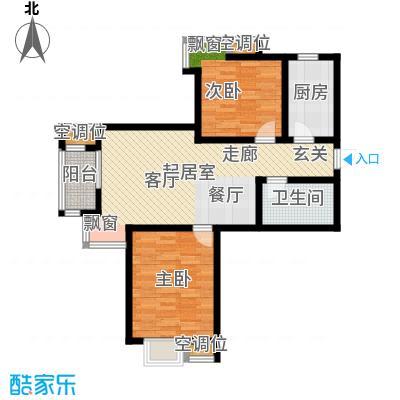 津品鉴筑95.15㎡二房二厅一卫户型