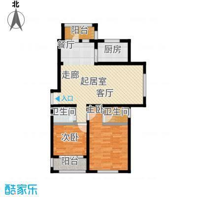 明悦浪漫城户型四2室2厅2卫使用面积86平米户型