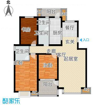 凤凰花园136.00㎡136平米三室两厅两卫户型3室2厅2卫