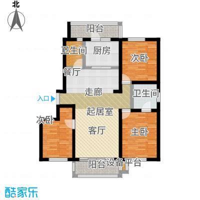 明悦浪漫城高层8栋A户型3室2厅2卫使用面积98平米户型3室2厅2卫