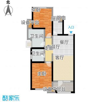 铂悦山84.00㎡B2户型区间84-119平户型3室2厅1卫