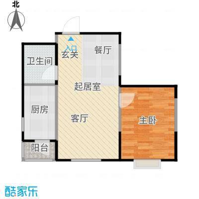 LOHAS上院7号公寓65.43㎡F户型1室2厅1卫
