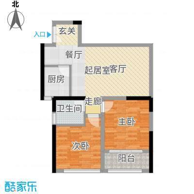 晓庄国际广场67.12㎡一期1号楼标准层B户型2室1卫1厨