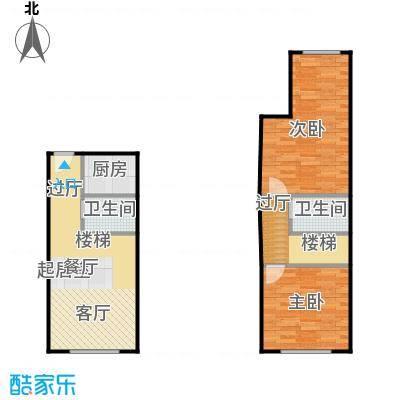 滨才城法兰之香loft户型 参考使用面积64.75平米户型2室1厅2卫