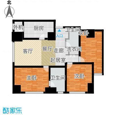 乐天圣苑174.00㎡E户型三室二厅二卫户型3室2厅2卫