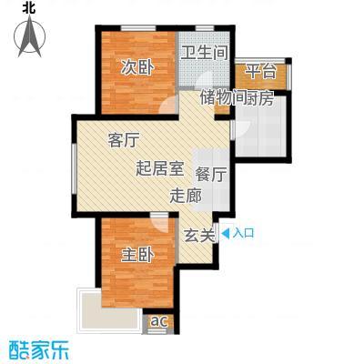 富邦壹品天城88.17㎡A户型 三室两厅一卫户型3室2厅1卫