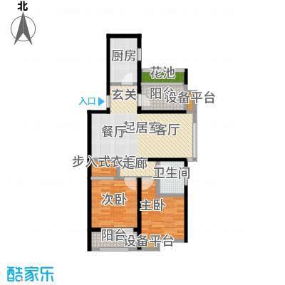 中海银海熙岸92.00㎡B户型8、9两室两厅一卫CC