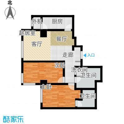 乐天圣苑122.00㎡D户型二室二厅二卫户型2室2厅2卫