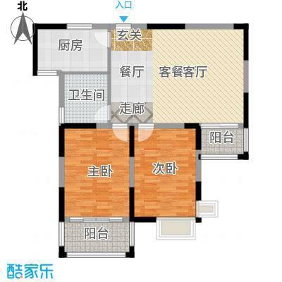 青桦逸景91.41㎡B户型2室2厅1卫1厨 91.41㎡户型2室2厅1卫