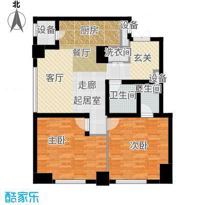 乐天圣苑117.00㎡B户型二室二厅二卫户型2室2厅2卫