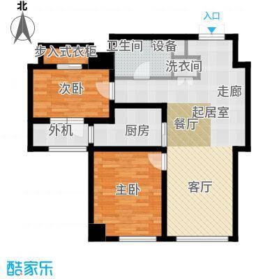 乐天圣苑109.00㎡A户型二室二厅一卫户型2室2厅1卫