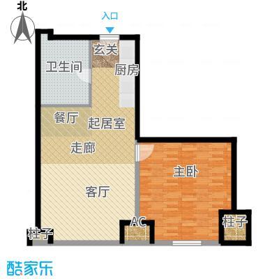 天津环球金融中心87.00㎡B04-87平米-一室一厅一卫户型