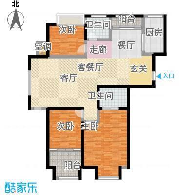 中茵龙湖国际128.00㎡c1户型128.60㎡三室两厅两卫户型3室2厅2卫