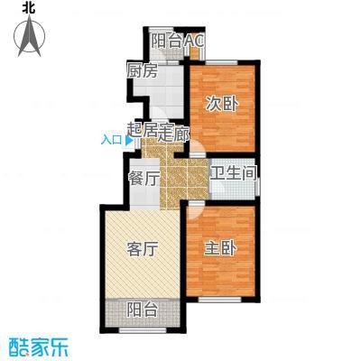 华厦津典三期川水园101.38㎡E户型2室2厅1卫