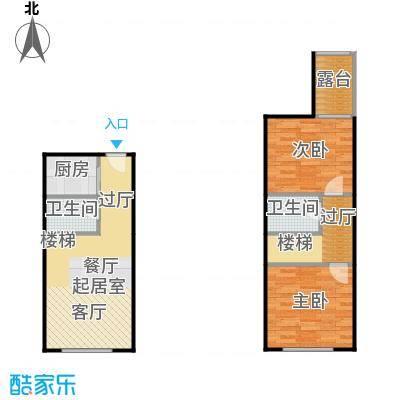 滨才城法兰之香loft户型 参考使用面积62.30平米户型2室1厅2卫