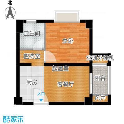 绿地学府公馆47.99㎡公寓D户型1室1厅1卫
