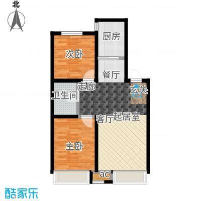 御景西城79.16㎡C户型 两室两厅一卫户型2室2厅1卫