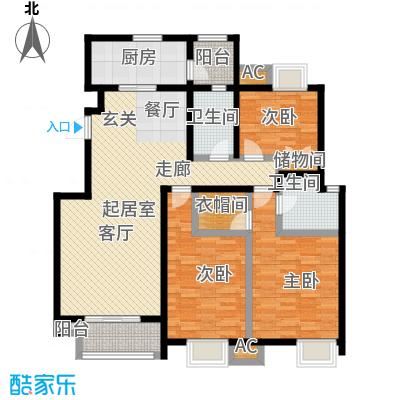 金隅悦城145.00㎡D1户型3室2厅2卫