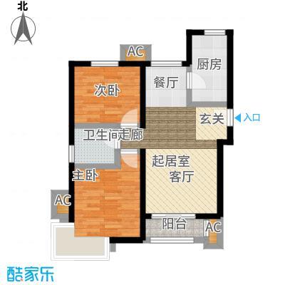 金隅悦城85.00㎡J户型2室2厅1卫