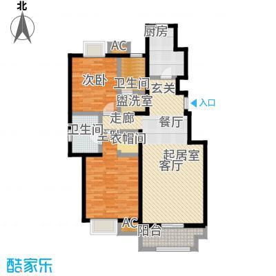 金隅悦城120.00㎡E-2户型2室2厅2卫-T