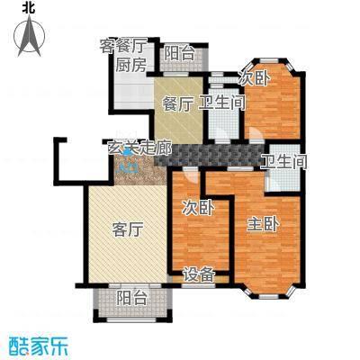 绿城百合公寓户型3室1厅2卫