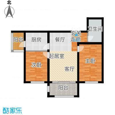 宝宇天邑澜湾103.16㎡17#3单元2号两室户型2室2厅1卫