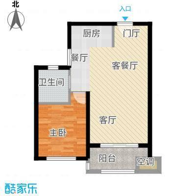 优山美地62.00㎡一期1号楼标准层F户型1室1卫