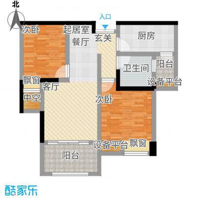 中央香榭81.00㎡高层I户型2室2厅1卫