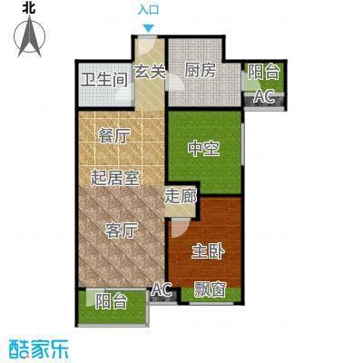雍华府89.00㎡1,5,6,7号楼一室户型 一室二厅一卫(售罄)户型