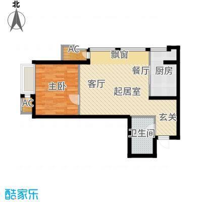 新松・茂樾山60.00㎡建筑面积约60平米A4户型1室1厅1卫
