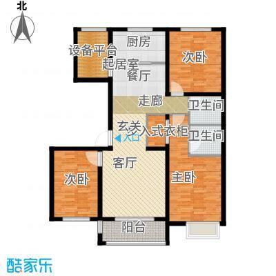 滨江国际117.38㎡F1户型3室2厅2卫