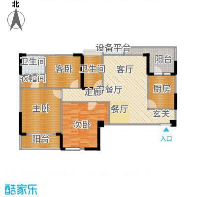 赛达国际120.00㎡A1户型 3室2厅2卫户型3室2厅2卫