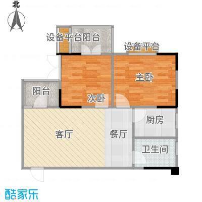 中御公馆户型2室1厅1卫1厨