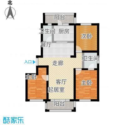 明悦浪漫城户型一2室2厅2卫使用面积98平米户型2室2厅1卫