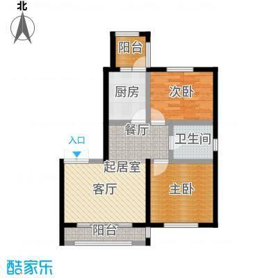 明悦浪漫城高层2栋A户型2室2厅1卫使用面积66.11平米户型2室2厅1卫