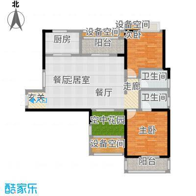 翰林珑城112.30㎡B2a户型 两房两厅两卫户型2室2厅2卫