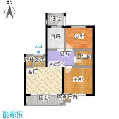 明悦浪漫城高层1栋D户型2室2厅1卫使用面积69.67平米户型2室2厅1卫