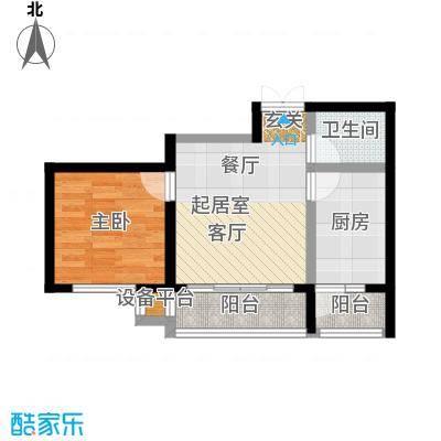 明悦浪漫城高层1栋C户型1室1厅1卫使用面积46.21平米户型1室1厅1卫