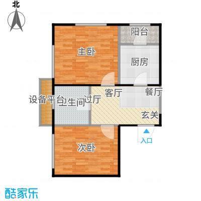 府上和平64.74㎡C1户型 两室一厅一卫户型2室1厅1卫