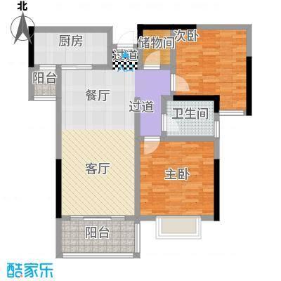 ��佳苑85.00㎡A2户型图 2室2厅1卫户型2室2厅1卫